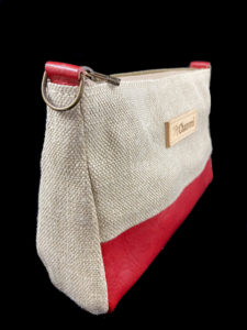 Sac trousse chanvre cuir rouge larsen chanvrel