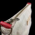 petit sac trousse rouge chanvre cuir